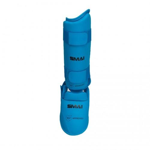 Защита голени и стопы Smai с лицензией WKF (синие)