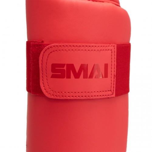 Защита голени и стопы Smai с лицензией WKF (красный)