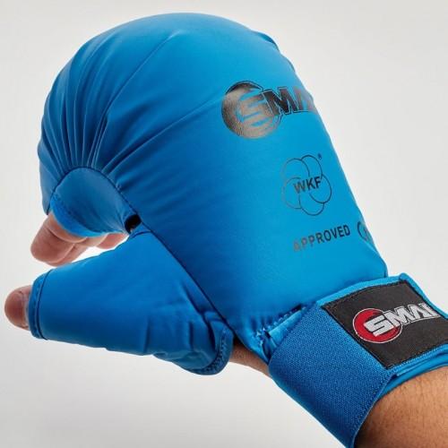 Перчатки для карате SMAI с защитой большого пальца с лицензией WKF (синий)