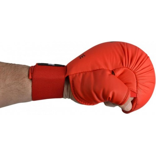 Перчатки для карате SMAI с защитой большого пальца с лицензией WKF (красный)