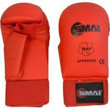 Перчатки для карате SMAI с защитой большого пальца. Цвет красный. Одобрено WKF- SMAI