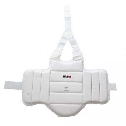 Защита туловища для детей Smai с лицензией WKF (белая)
